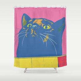Black Cat in a box (Magenta) Shower Curtain
