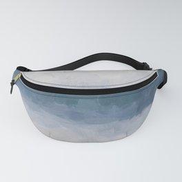 Navy Indigo Blue Water, Lavender Clouds, Beige Sandy Plains Beach, Calm & Relaxing Modern Abstract Painting, Art Print Wall Decor  Fanny Pack