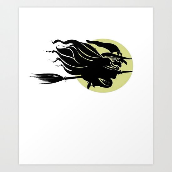 Flying Witch On Broomstick With A Big Moon  Art Print
