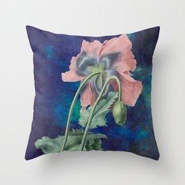 French Poppy - Vintage Botanical Illustration Collage Throw Pillow