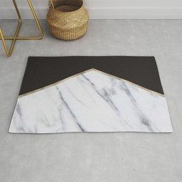 Gilded ebony and soft white marble Rug