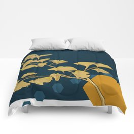 Gingko and hexagons Comforters