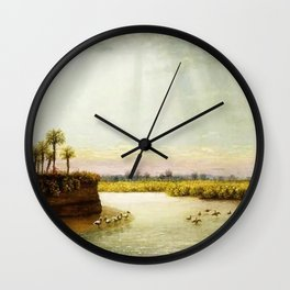 1873 Classical Masterpiece 'White Pelicans in Florida' by George Harvey Wall Clock