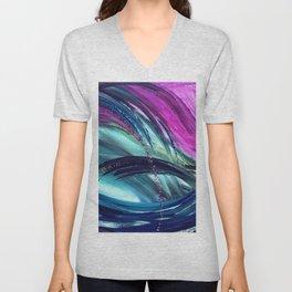 Waves Pink and Blue Unisex V-Neck