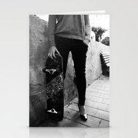skateboard Stationery Cards featuring SkateBoard Girl by amit sakal