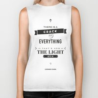 motivational Biker Tanks featuring Leonard Cohen, Motivational Quote by Spyros Athanassopoulos