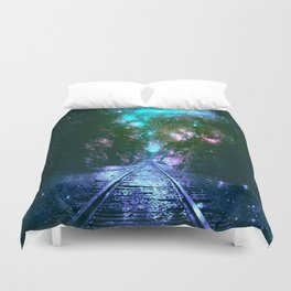 train tracks Next Stop Anywhere bright Duvet Cover