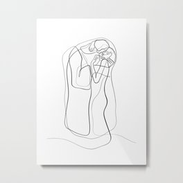 The Kiss by Gustav Klimt - minimal one line drawing Metal Print