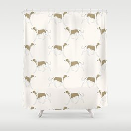 The Walking Whippet Shower Curtain