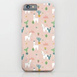 Summer Llamas on Pink iPhone Case