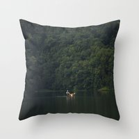 rowing Throw Pillows featuring Rowing back home. by Nepal