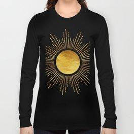 Golden Sunburst Starburst Noir Long Sleeve T-shirt