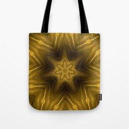 Golden Amber Metalic Abstract Star #Kaleidoscope Tote Bag