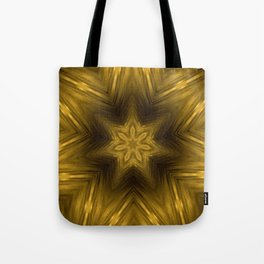Golden Amber Metalic Abstract Star #Kaleidoscope Tote Bag