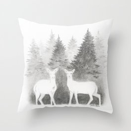 Albino Deer and Pine Forest Throw Pillow