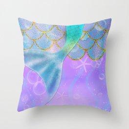 Mermaid Iridescent Shimmer Throw Pillow