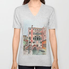 Venice Watercolor and ink illustration Unisex V-Neck