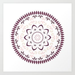 Leaf and petal floral Mandala with radial symmetry Art Print