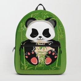 Сartoon panda bear eating ramen Backpack