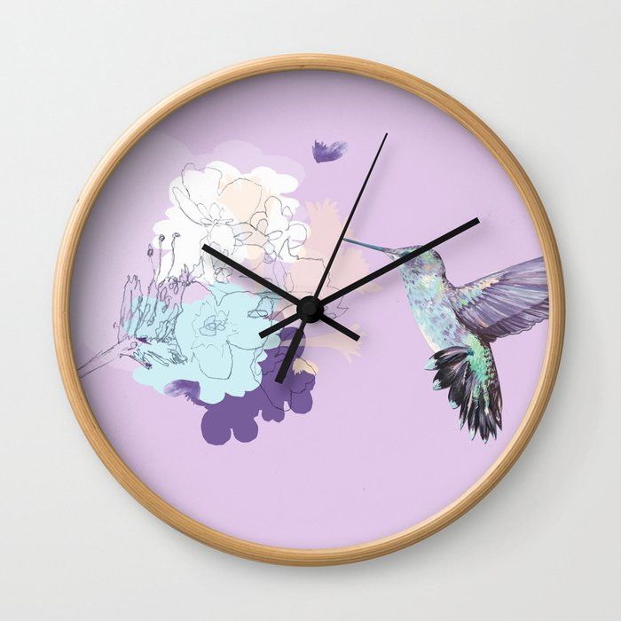Lavender hummingbird and flower watercolor Wall Clock