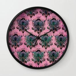 Pink Lotus Damask Wall Clock