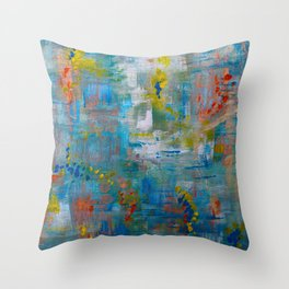 Modern Abstract Wall Art, A NEW Look, Blue vivid colors, living room wall art Throw Pillow