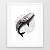 the whale Framed Art Prints featuring Whale by Margarita Kukhtina