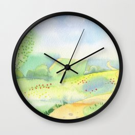 label with olives and olive oil Wall Clock