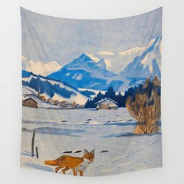 Jugend-Munich illustrated weekly for art and life - 1906 Cold Climate Snow Mountains Fox Wall Tapestry