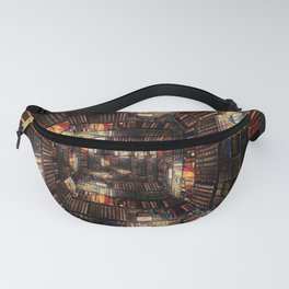 Bookshelf Books Library Bookworm Reading Pattern Fanny Pack