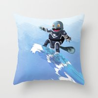 squirtle Throw Pillows featuring WATERBENDING SQUIRTLE by DROIDMONKEY
