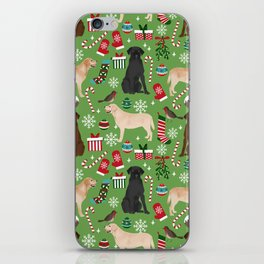 Labrador retrievers christmas festive holiday gifts for dog lover in your life dog breeds custom art iPhone Skin