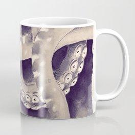 Dark Tentacles Purple Cream Watercolor Ink Coffee Mug