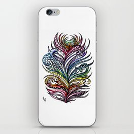 Ornate Rainbow Zentangle Feather iPhone Skin