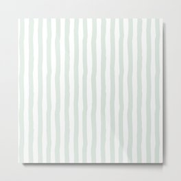 Vintage green white paint brushstrokes stripes Metal Print