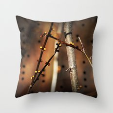 fire sunset tree buds Throw Pillow