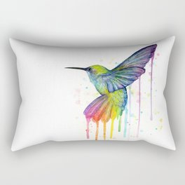 Hummingbird Rainbow Watercolor Rectangular Pillow