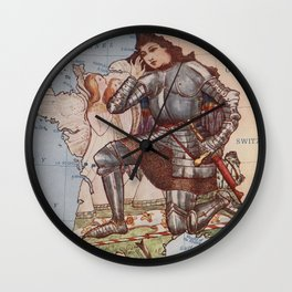 Vintage France Joan of Arc Illustrative Map (1912) Wall Clock
