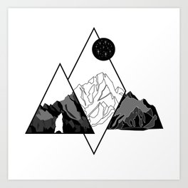 Mountains and Bear Lines Art Print