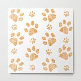 Yellow doodle paw print pattern background Metal Print