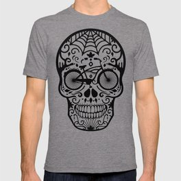 Vintage Mexican Skull with Bicycle - black and white T-shirt