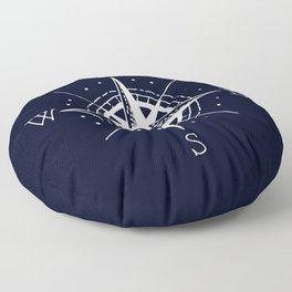 Navy Nautical - White Compass Floor Pillow