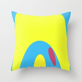 Nouveau Retro Graphic Yellow Blue and Red Throw Pillow