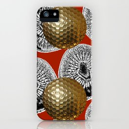 RED PATTERN GOLD GOLF BALLS iPhone Case