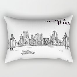 Ink Sketch Pittsburgh Skyline Rectangular Pillow