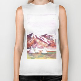 Three Jewels Watercolor Painting of Three Tipis Biker Tank