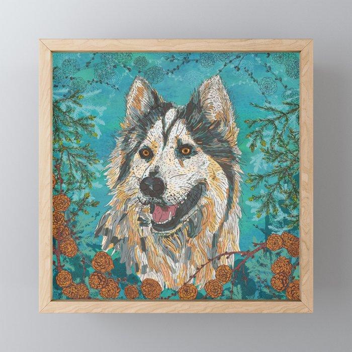 Woodland Husky Framed Mini Art Print