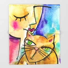 My Crazy Cat No. 3 by Kathy Morton Stanion Throw Blanket