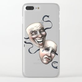 Comedy Tragedy Theater Masks Clear iPhone Case