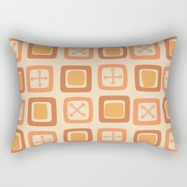 Mid Century Modern Squares Lines Citrus Orange Rectangular Pillow